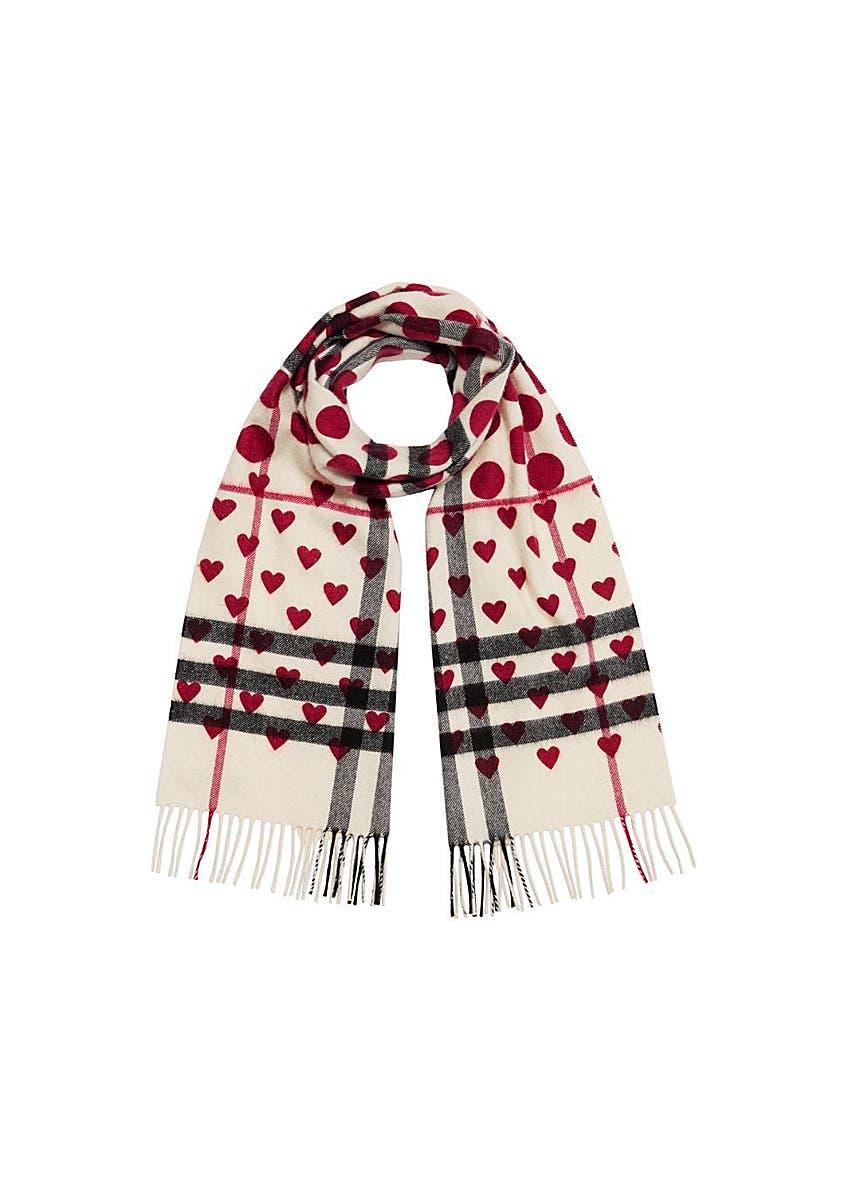 60e7e5802 The classic heart check cashmere scarf ...