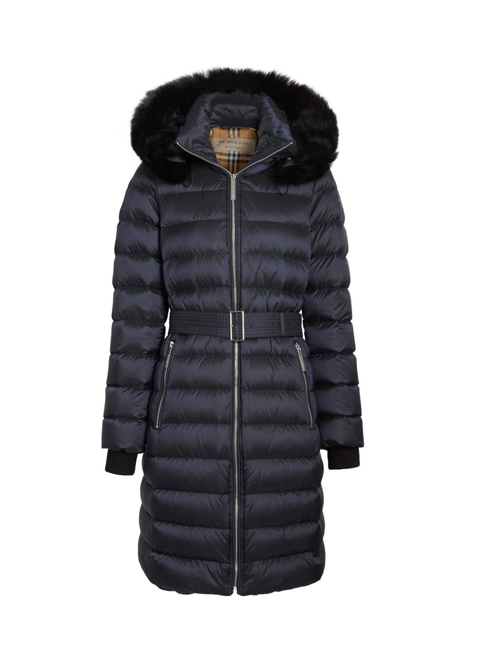 Burberry Detachable Shearling Trim Down Filled Puffer Coat