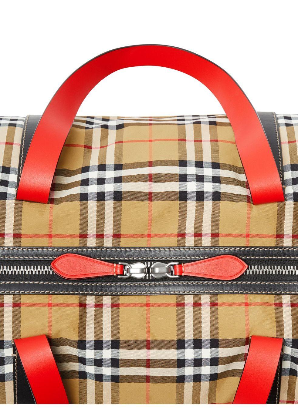 Large vintage check and leather barrel bag - Burberry
