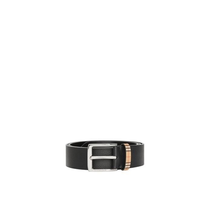 Burberry Check Detail Grainy Leather Belt