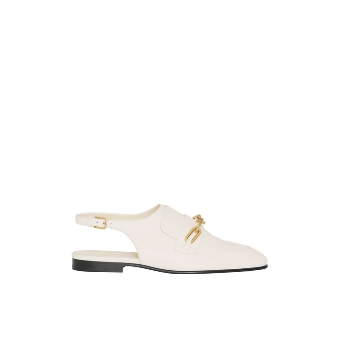 Burberry Leathers LINK DETAIL LEATHER SLINGBACK LOAFERS