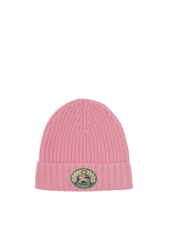 Embroidered crest rib knit wool cashmere beanie ... 19f421979fd2