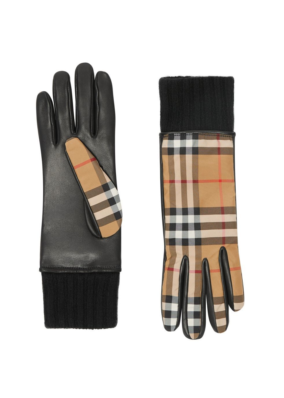 Cashmere-Lined Vintage Check And Lambskin Gloves
