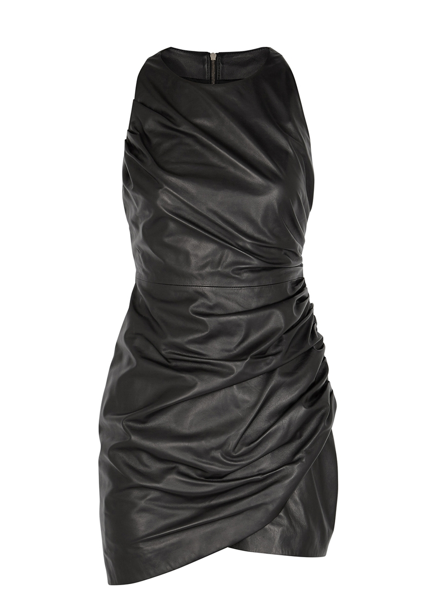 f2a0c8065041 Black ruched leather mini dress ...