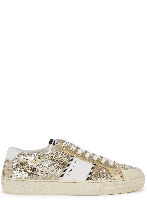 MOA Master of Arts Playground gold sequin trainers - Harvey Nichols 56350266d74