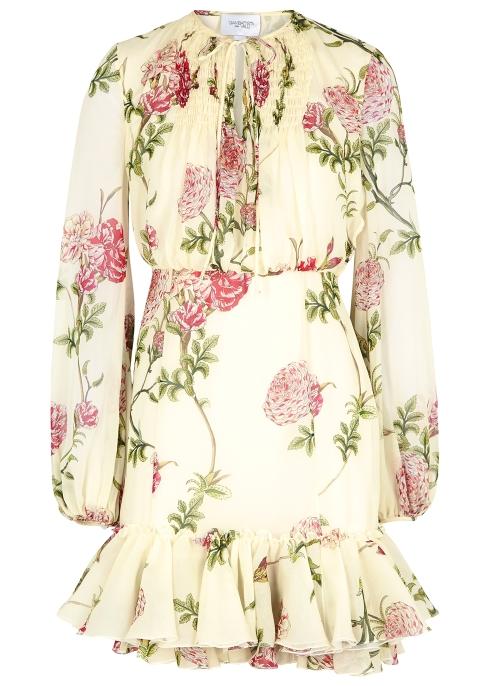 bb2974f0a80af Giambattista Valli Cream floral-print silk dress - Harvey Nichols