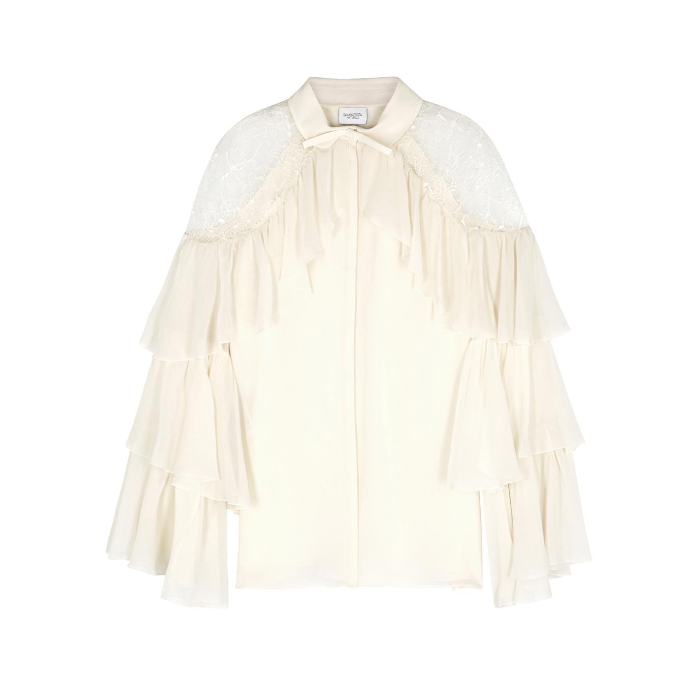 8d4e5c520d26a Giambattista Valli Ivory ruffle-trimmed silk blouse - Harvey Nichols