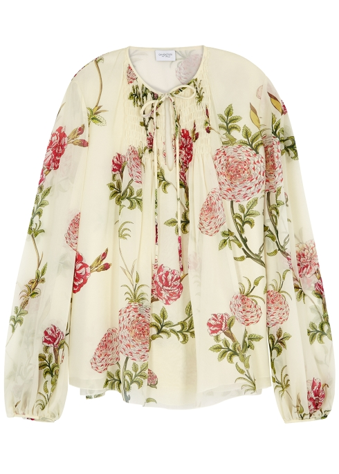 84044ba875228 Giambattista Valli Cream floral-print silk blouse - Harvey Nichols