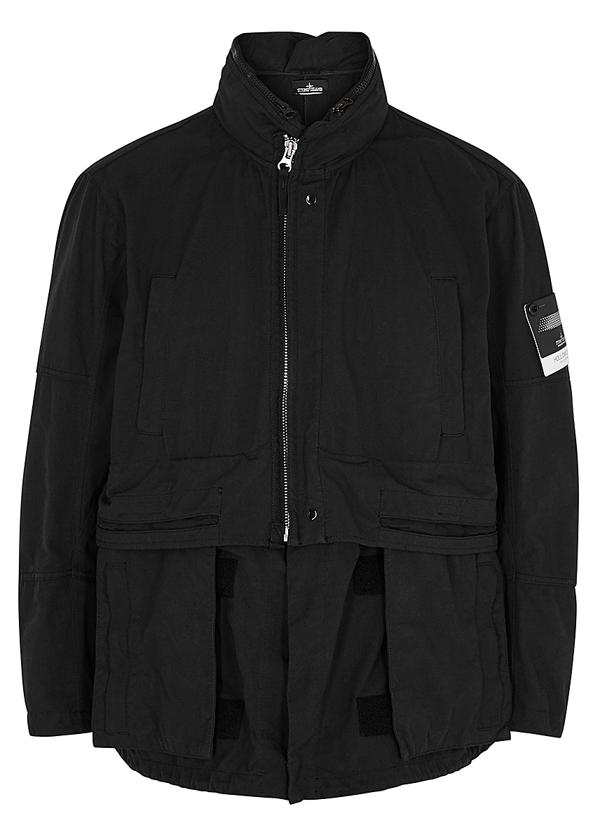 147d38f4 Stone Island Shadow Project. Black garment-dyed Hollowcore jacket