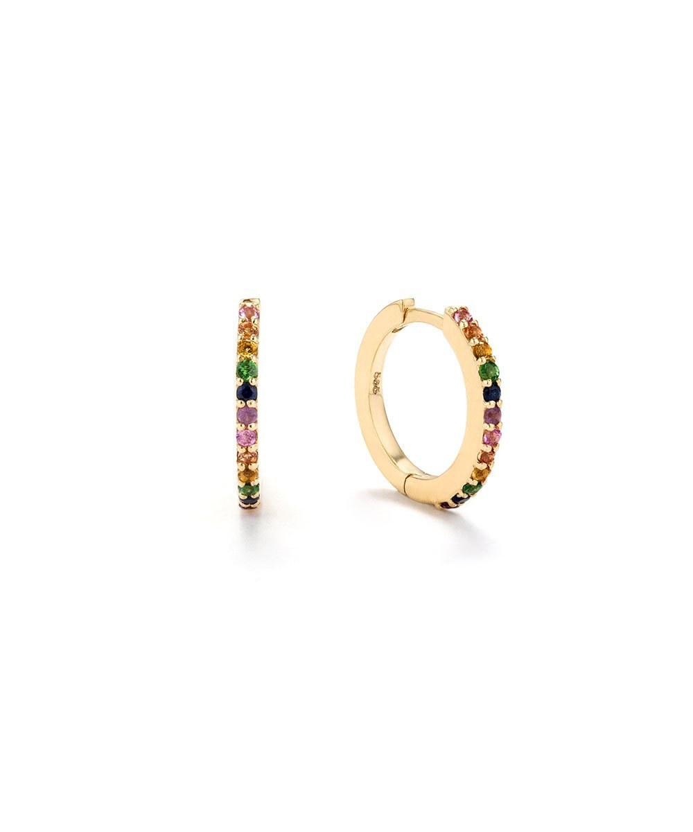 EDGE OF EMBER Rainbow Sapphire Huggie Earrings