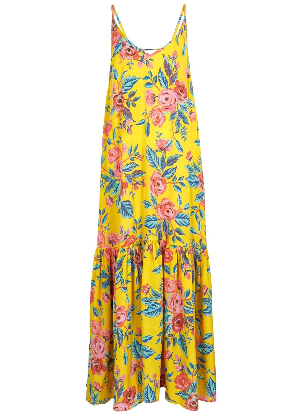 Elke Printed Silk Maxi Dress in Yellow
