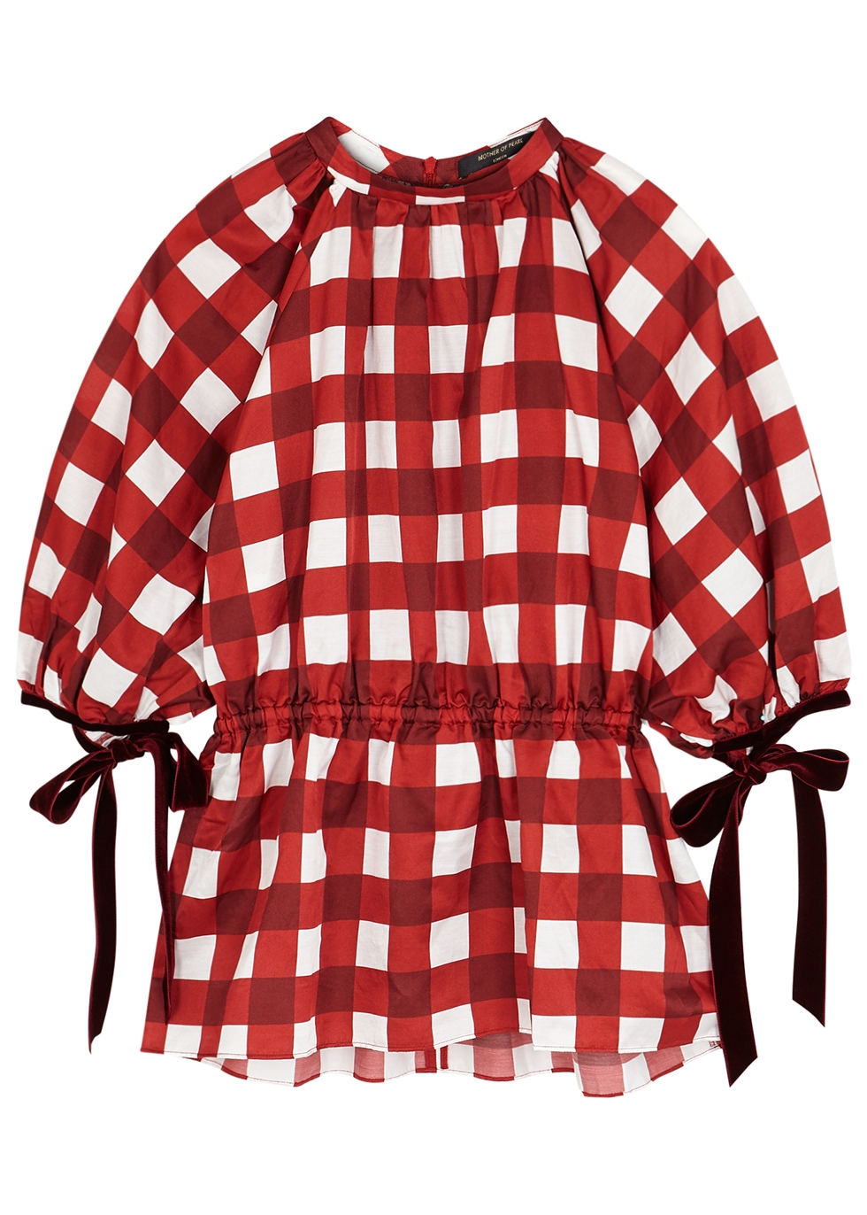 June red checked satin top - Mother of Pearl