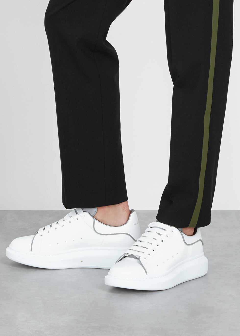 a1b310a15586 Alexander McQueen Larry white reflective leather trainers - Harvey Nichols