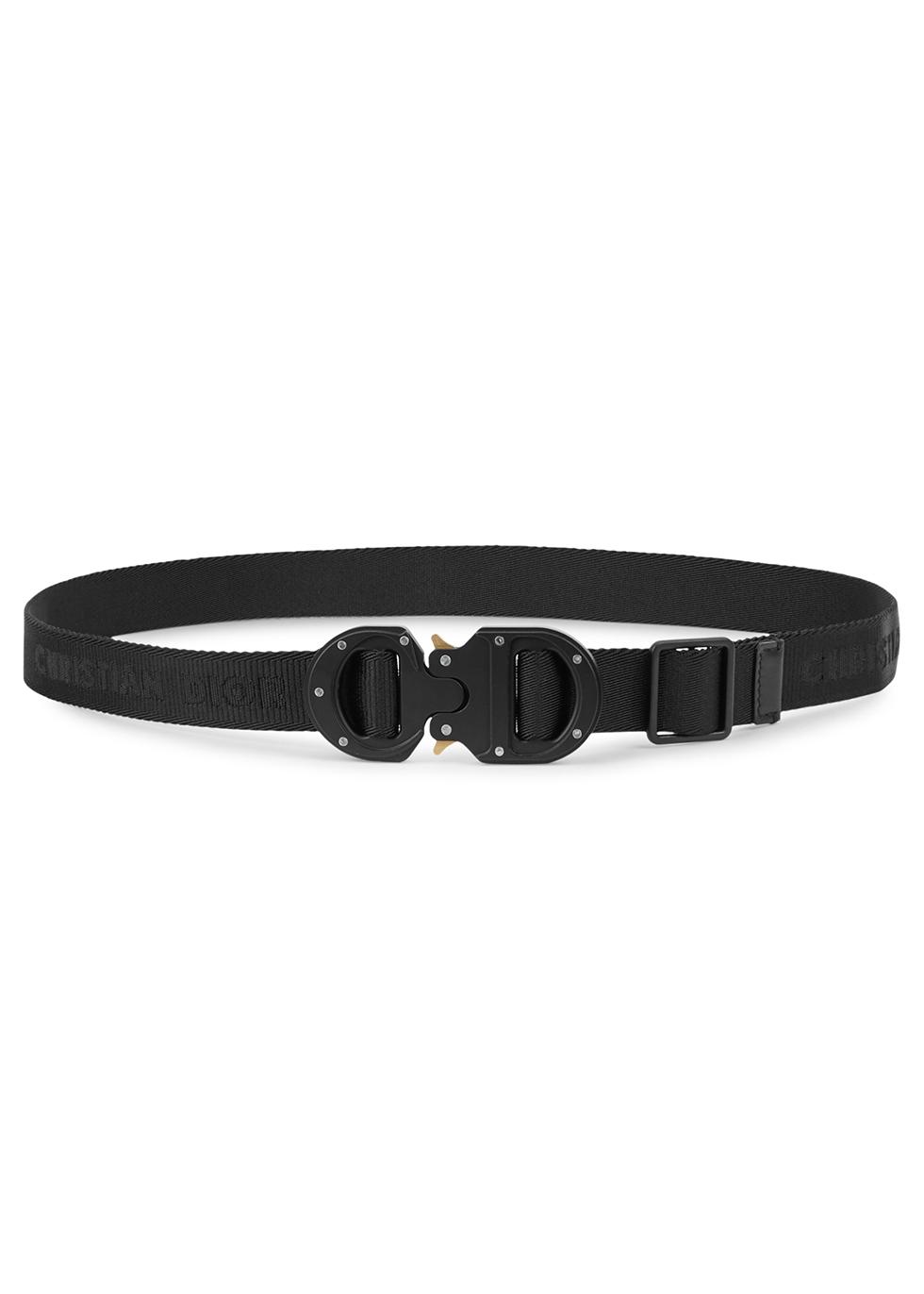 Black logo-jacquard canvas belt - Dior Homme