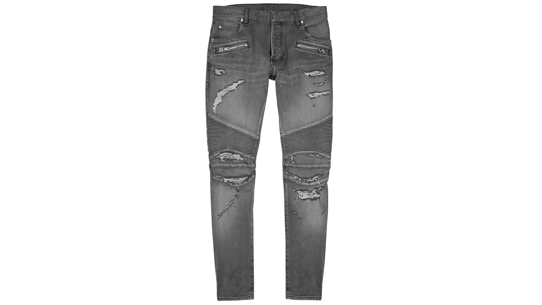 78aa07ac Grey distressed slim-leg jeans
