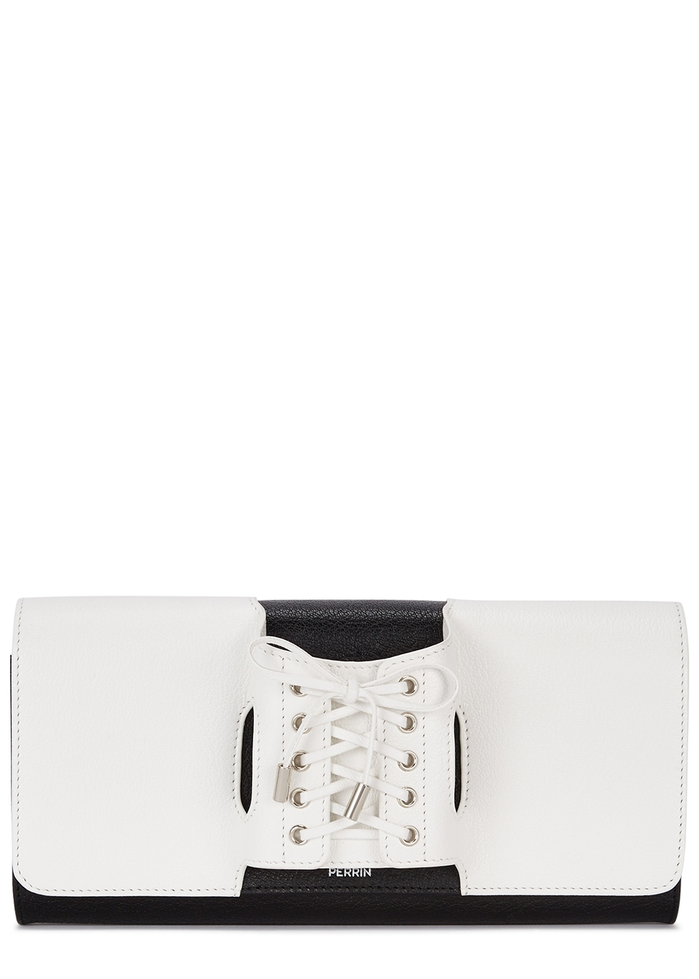 PERRIN Le Corset Monochrome Leather Clutch in Black And White