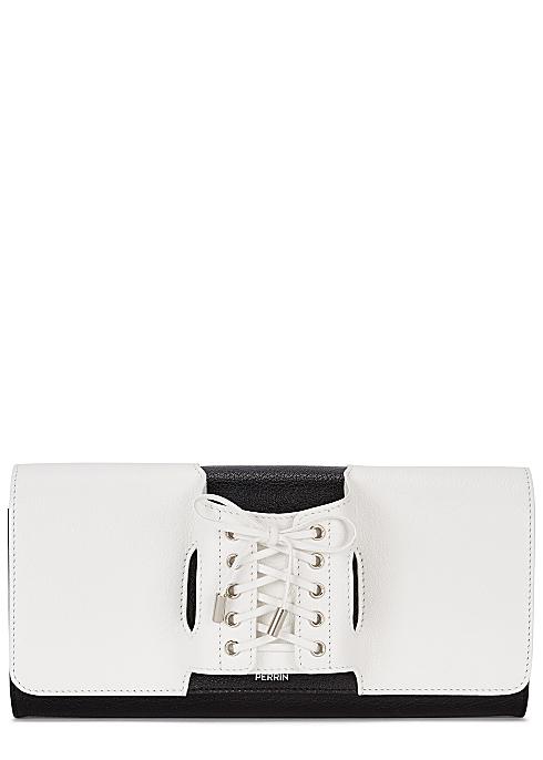 cb3c359821e PERRIN PARIS Le Corset monochrome leather clutch - Harvey Nichols