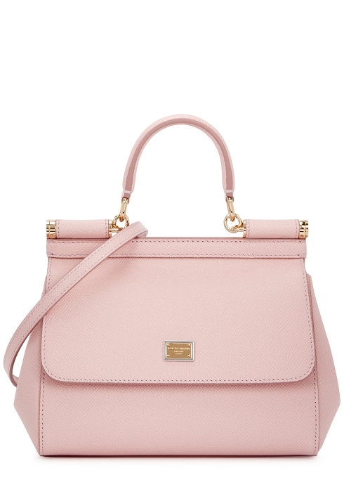 9c86fc59342c Dolce   Gabbana Miss Sicily blush grained leather top handle bag ...