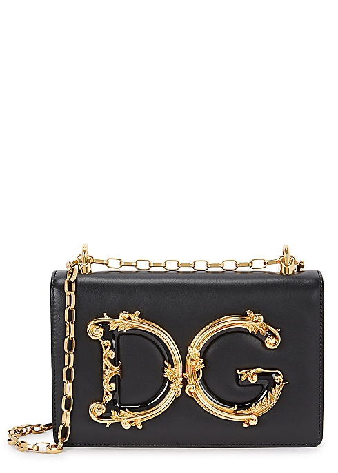 6867dbf0bf5c Dolce & Gabbana DG Girls black leather shoulder bag - Harvey Nichols