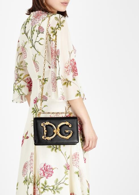 7c8ae56f2c Dolce   Gabbana DG Girls black leather shoulder bag - Harvey Nichols
