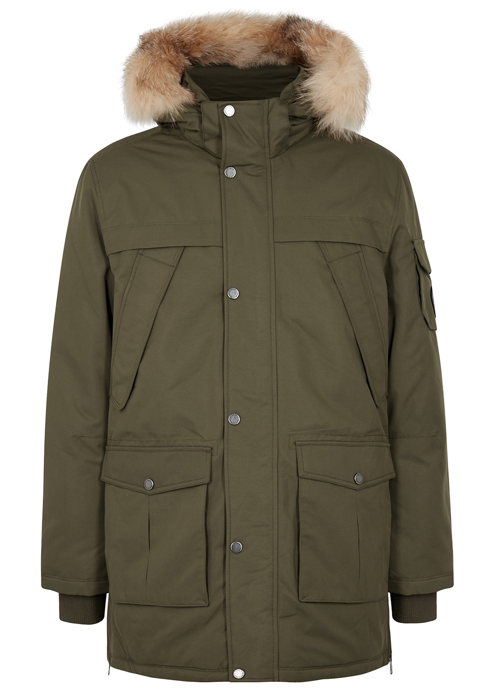 PAJAR Ethan Army Green Fur-Trimmed Shell Parka in Olive
