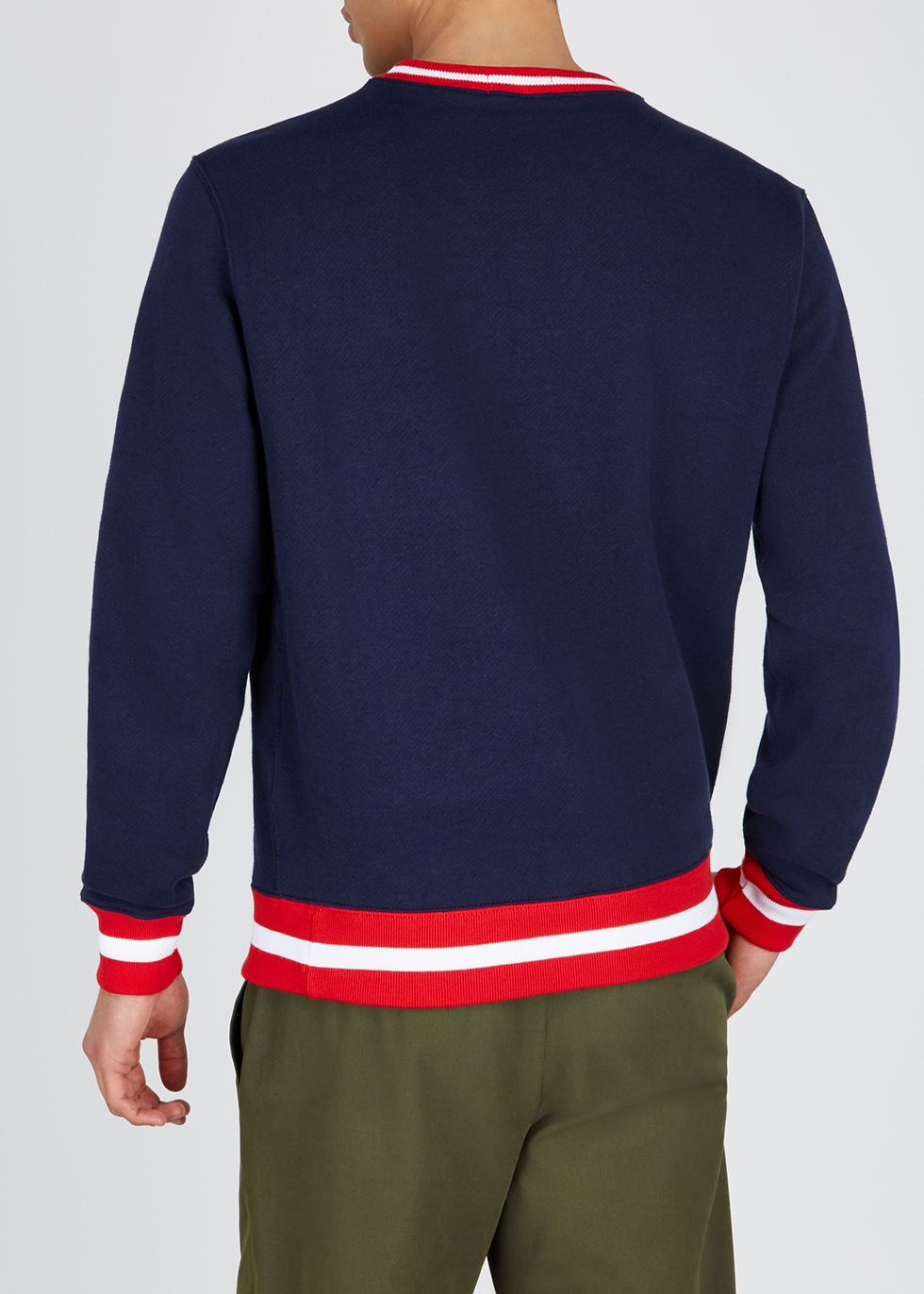 Navy embroidered cotton-blend sweatshirt - Polo Ralph Lauren