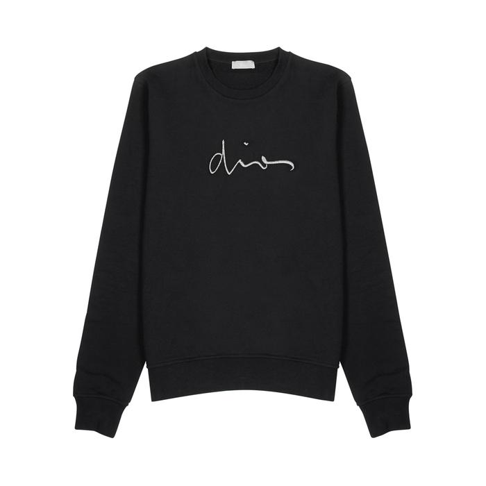 Dior Homme Black Logo-embroidered Cotton Sweatshirt