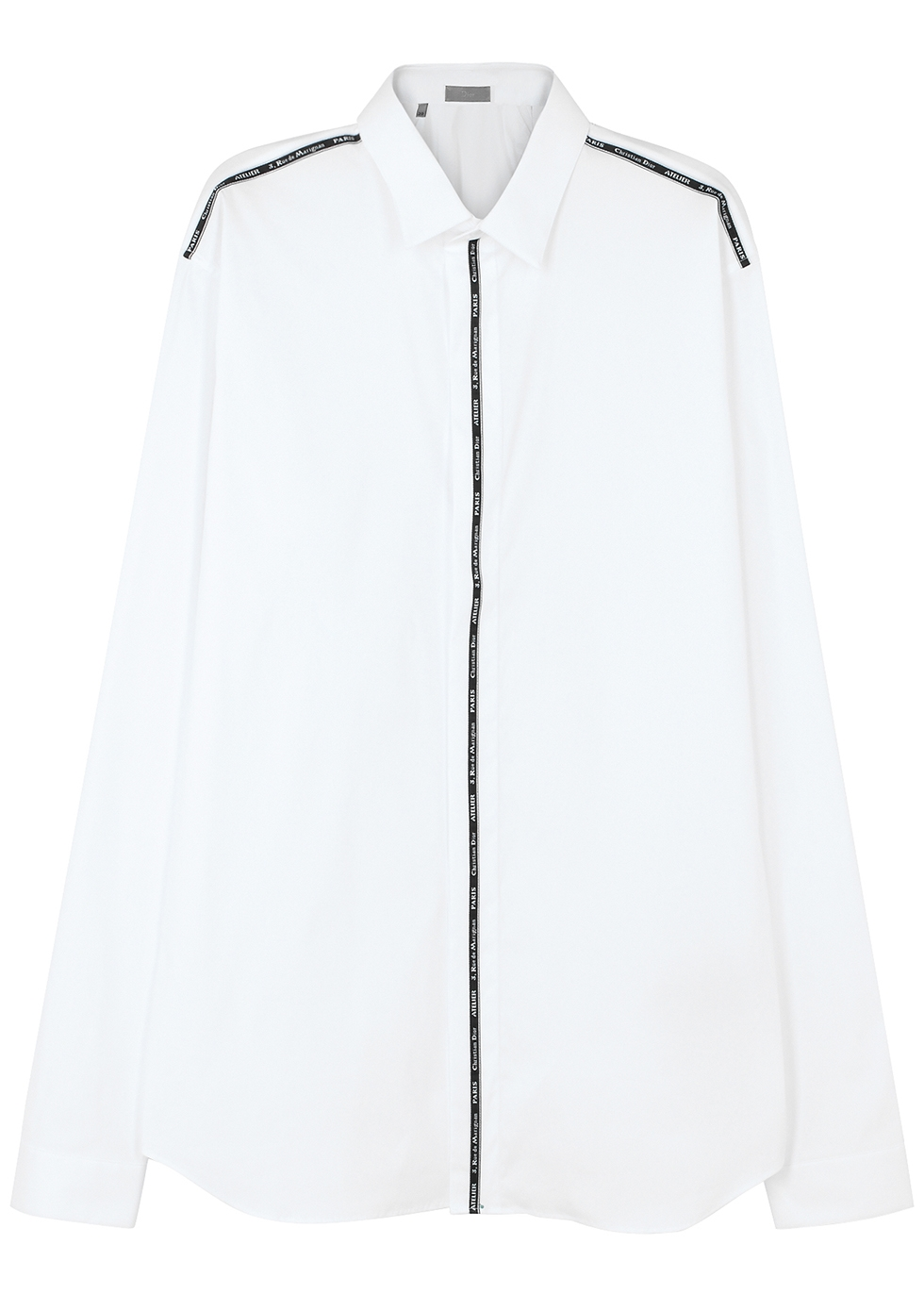 DIOR HOMME Christian Dior Atelier Ribbon Cotton-Blend Shirt in White