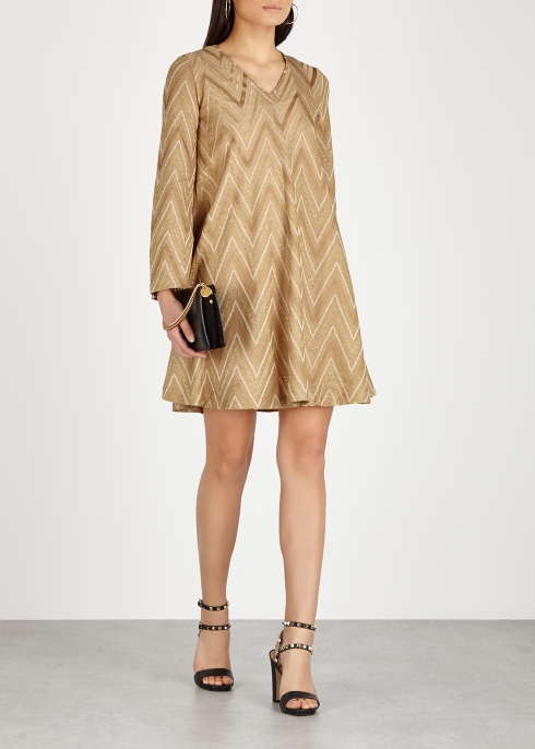 d37de300fec9 M Missoni Gold zigzag metallic-knit dress - Harvey Nichols