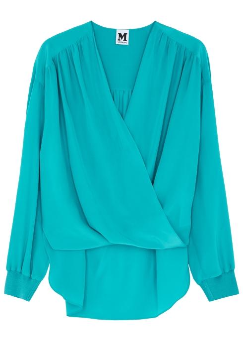 d4091acc9500b M Missoni Turquoise twist-effect silk blouse - Harvey Nichols