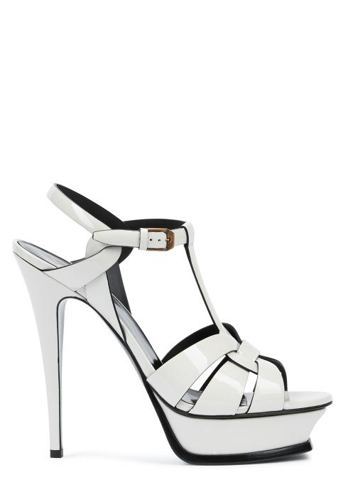 b3b5419df Saint Laurent Tribute 135 off-white patent leather sandals - Harvey ...