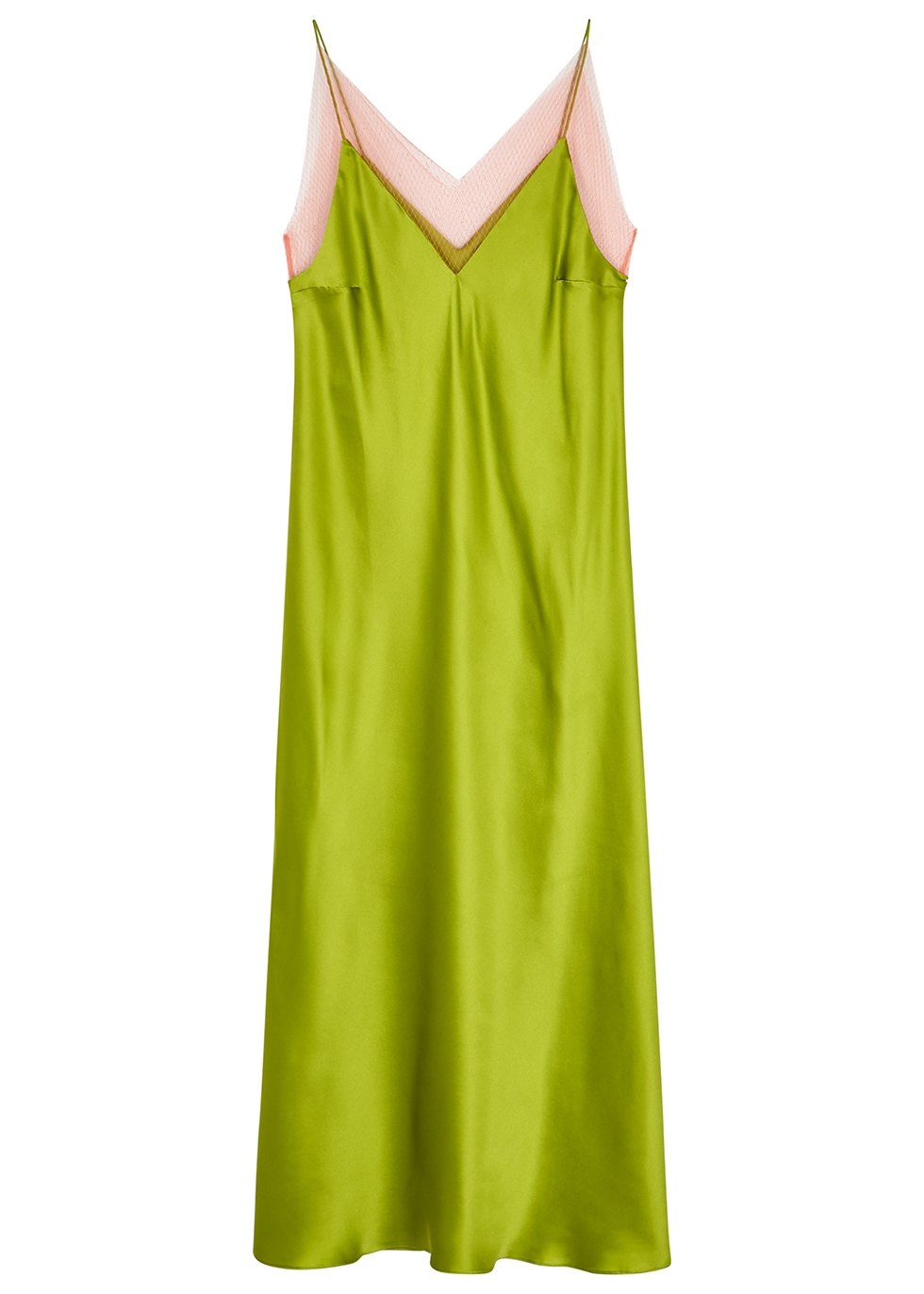 Lime lace-trimmed silk midi dress - Walk of Shame