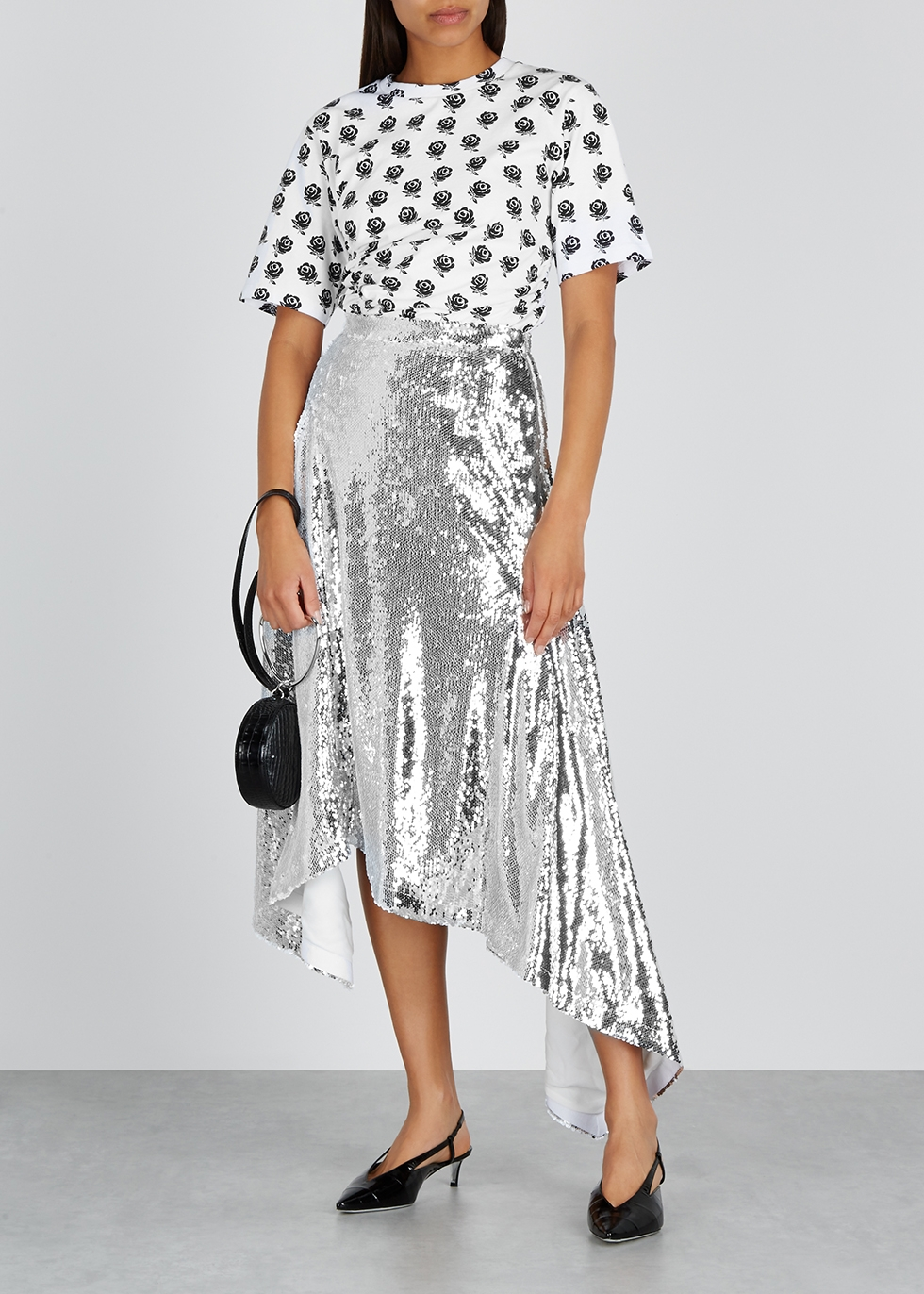 Silver sequin midi skirt - Walk of Shame