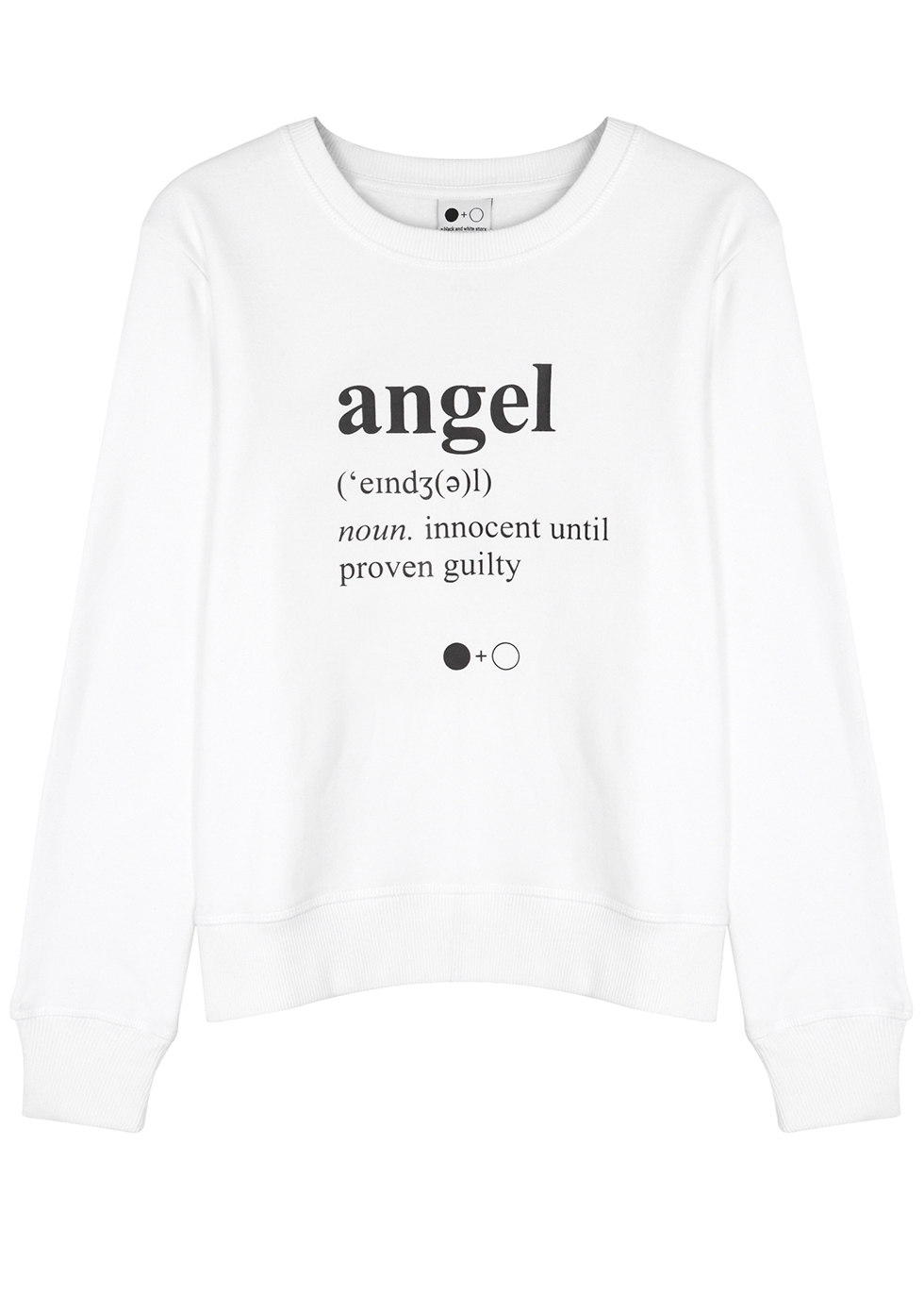 A BLACK & WHITE STORY Angel-Print Cotton Sweatshirt in White And Black