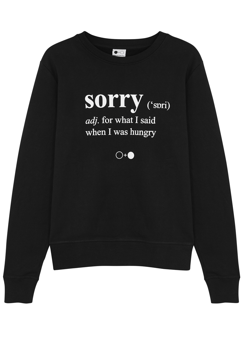 A BLACK & WHITE STORY Sorry-Print Cotton Sweatshirt in Black And White