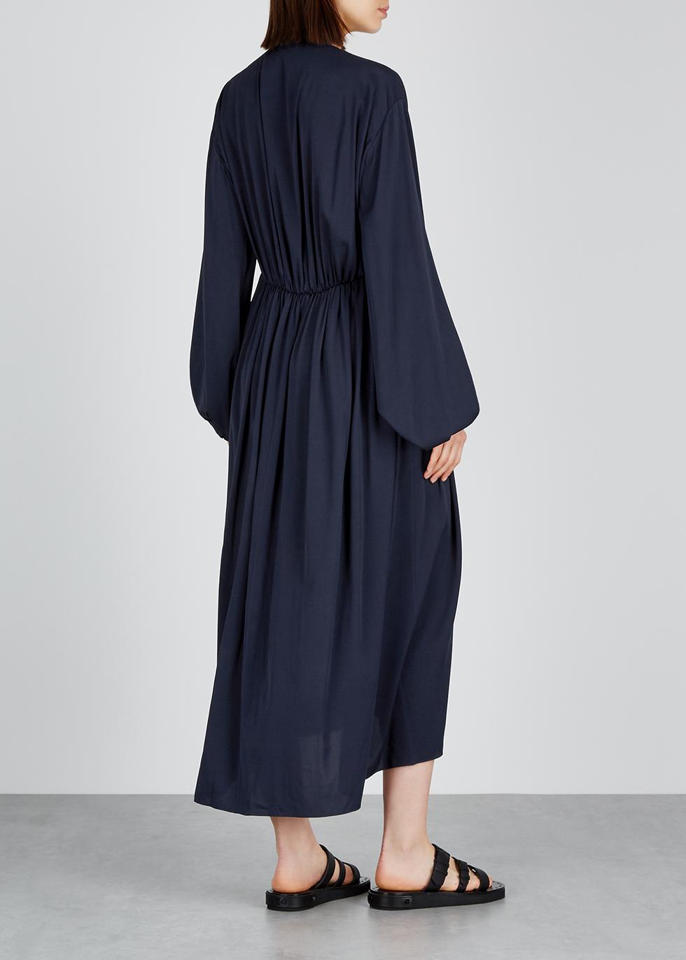 Sasha navy stretch-silk midi dress - THE ROW