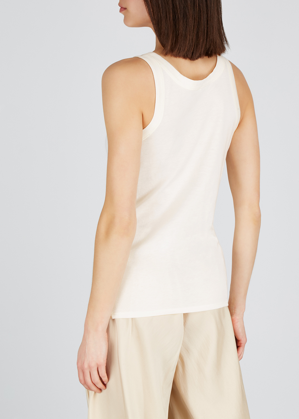 Frankie ivory cotton-blend tank - THE ROW