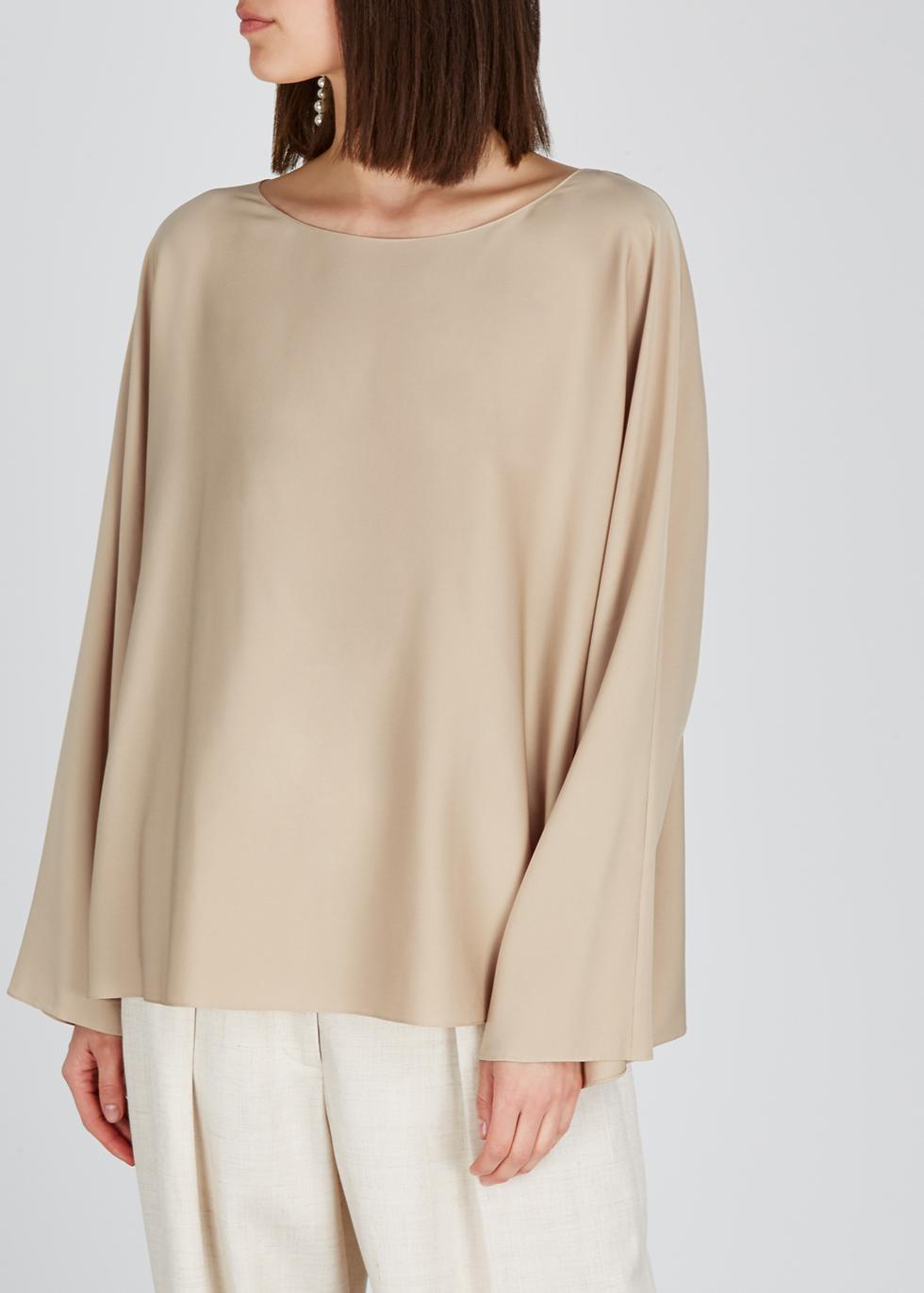Dylia sand stretch-silk top - THE ROW