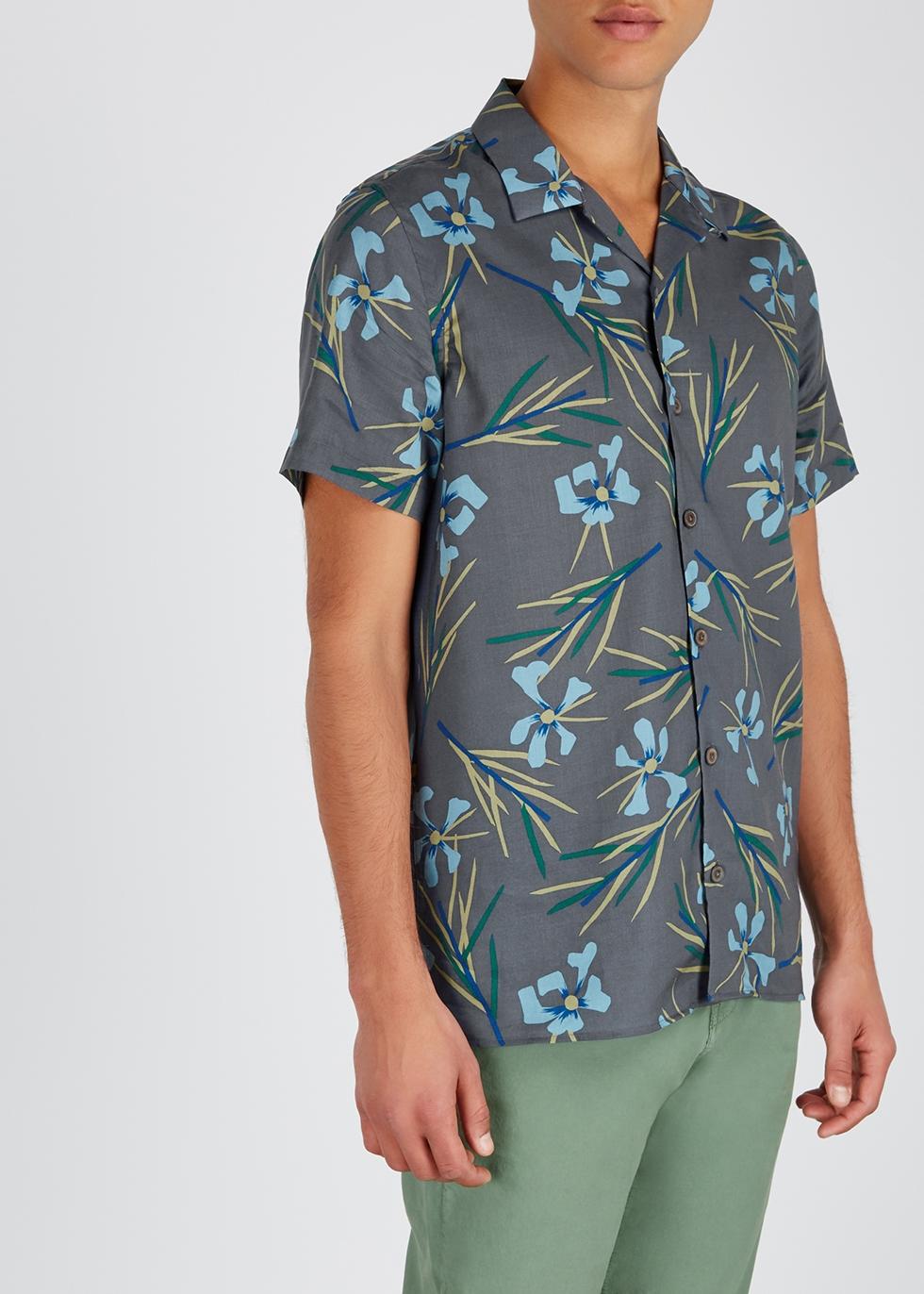 Grey floral-print Lyocell shirt - Paul Smith