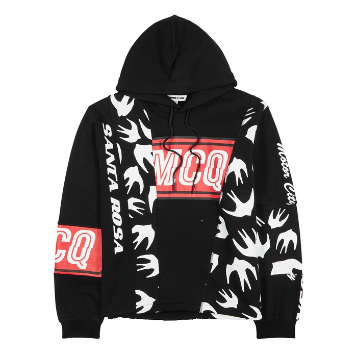 McQ Alexander McQueen Black Printed Hooded Cotton Sweatshirt