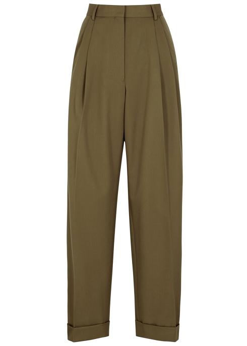 7869574b72 Dries Van Noten Partan olive wide-leg trousers - Harvey Nichols