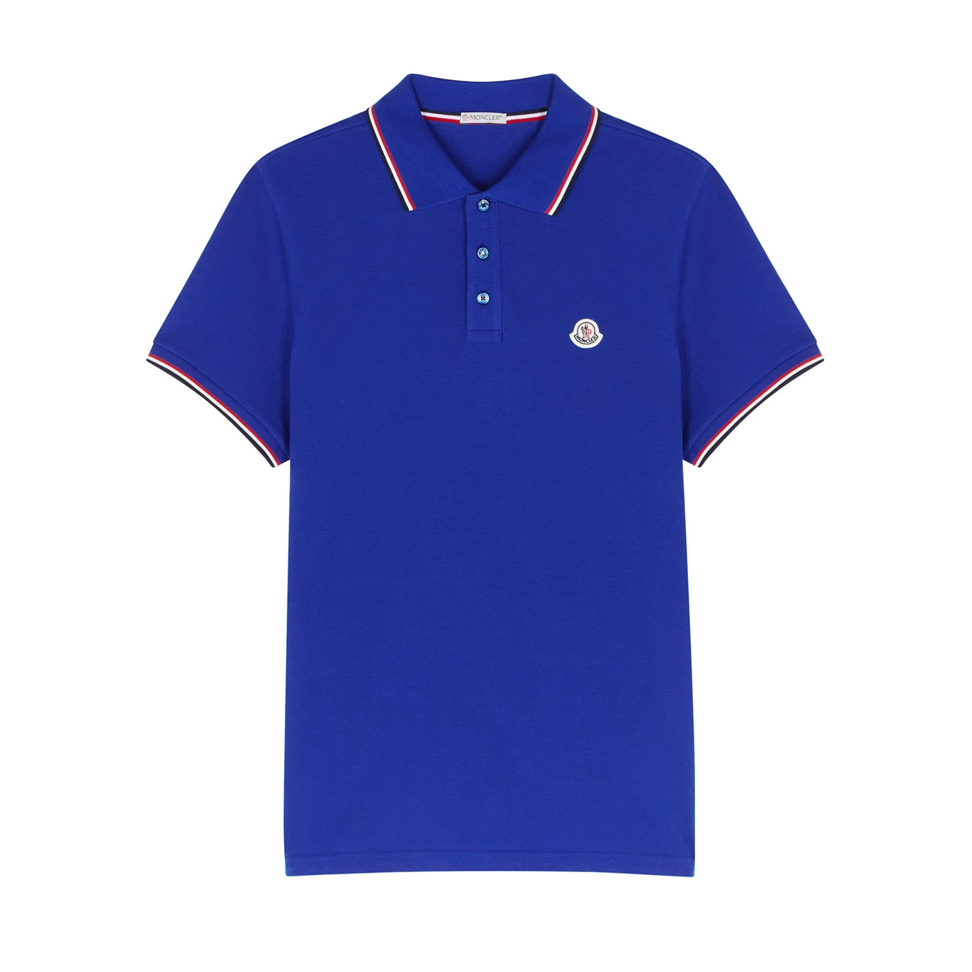 24cc8fe07980 Moncler Royal blue piqué cotton polo shirt - Harvey Nichols