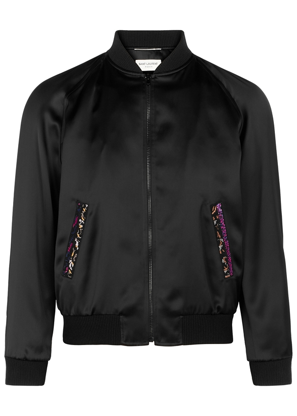 15c59b585d0 Bead-embellished satin bomber jacket ...