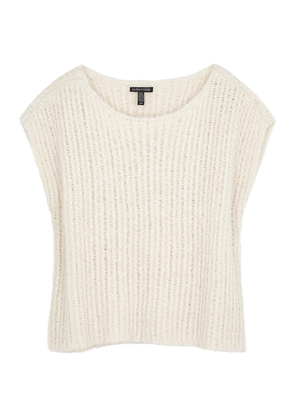 Cream open-knit cotton-blend jumper - EILEEN FISHER