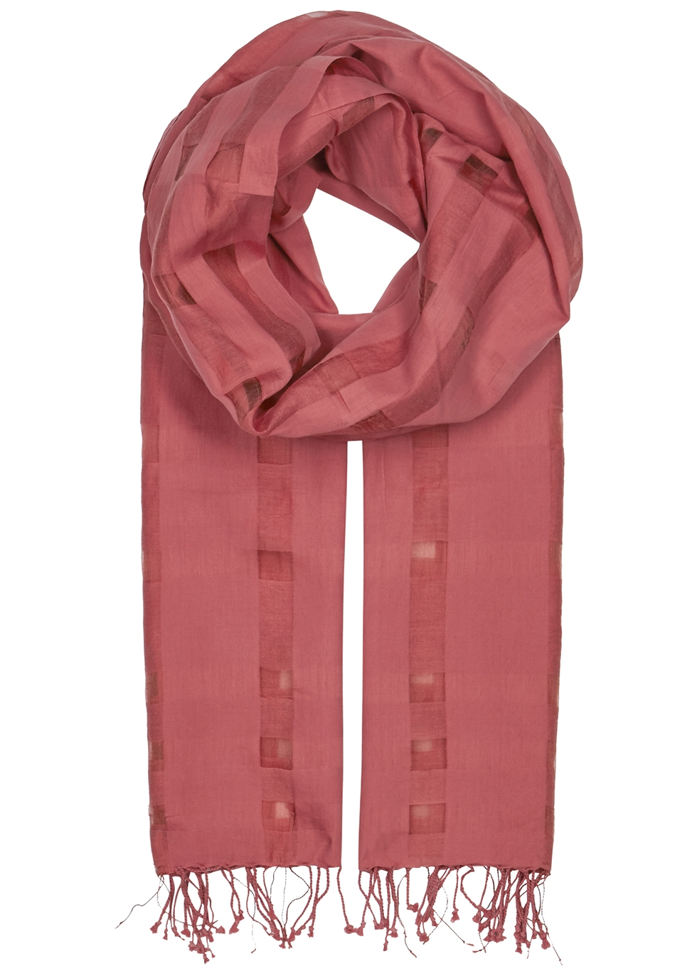 Rose checked cotton-blend scarf - EILEEN FISHER