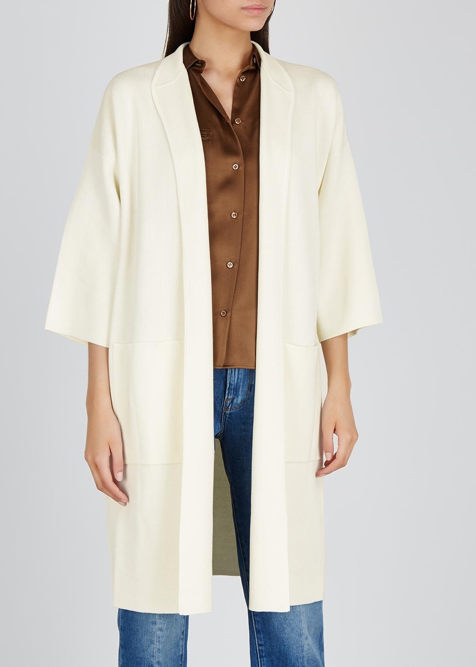 Cream knitted silk-blend cardigan - EILEEN FISHER