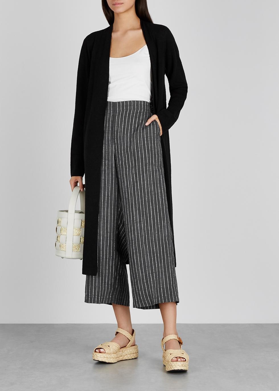 Grey striped wide-leg linen culottes - EILEEN FISHER