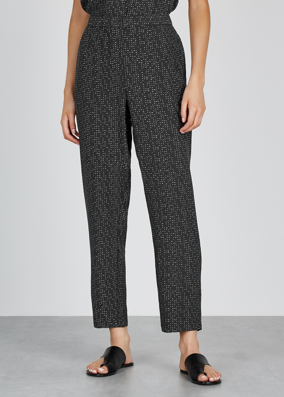 Printed crepe de chine trousers - EILEEN FISHER