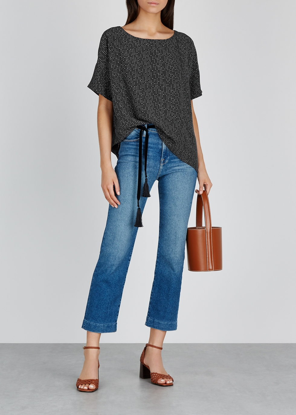Grey printed crepe de chine top - EILEEN FISHER
