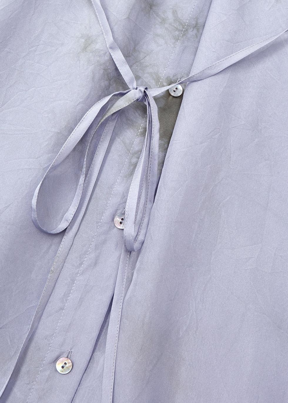 Lilac tie-dye silk midi shirt dress - EILEEN FISHER